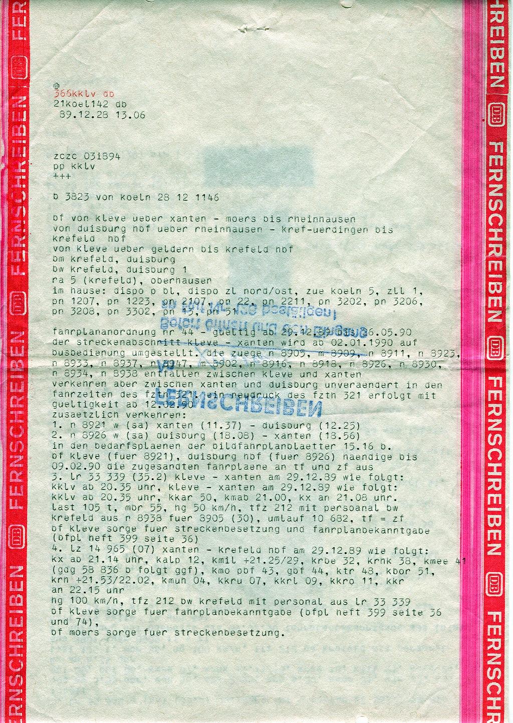 Fernschreiben zur Betriebseinstellung Xanten - Kleve 1989
