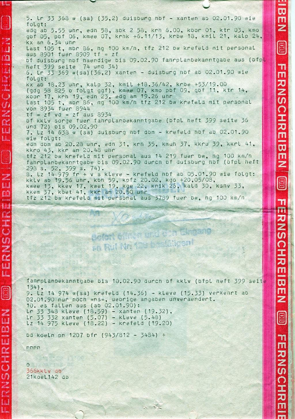 Fernschreiben zur Betriebseinstellung Xanten - Kleve 1989 - Seite 2