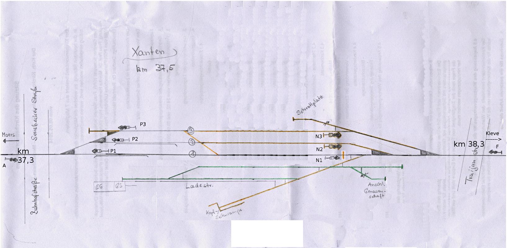 Gleisplanskizze 80er Jahre und später