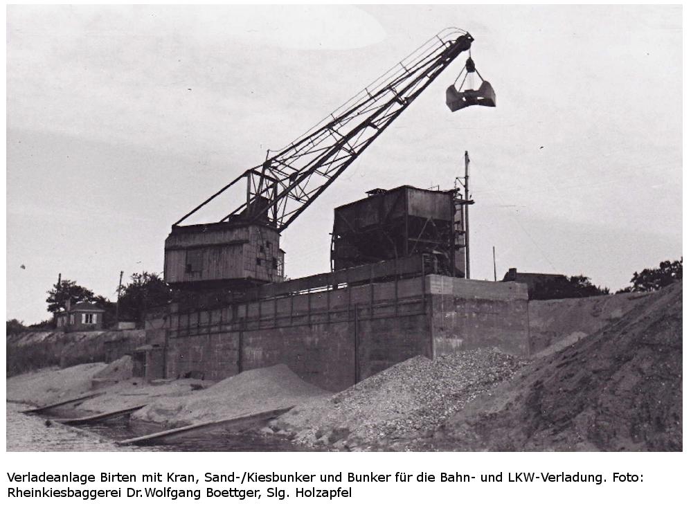 Verladeanlage Birten vom Altrhein aus - Kran und Bunker