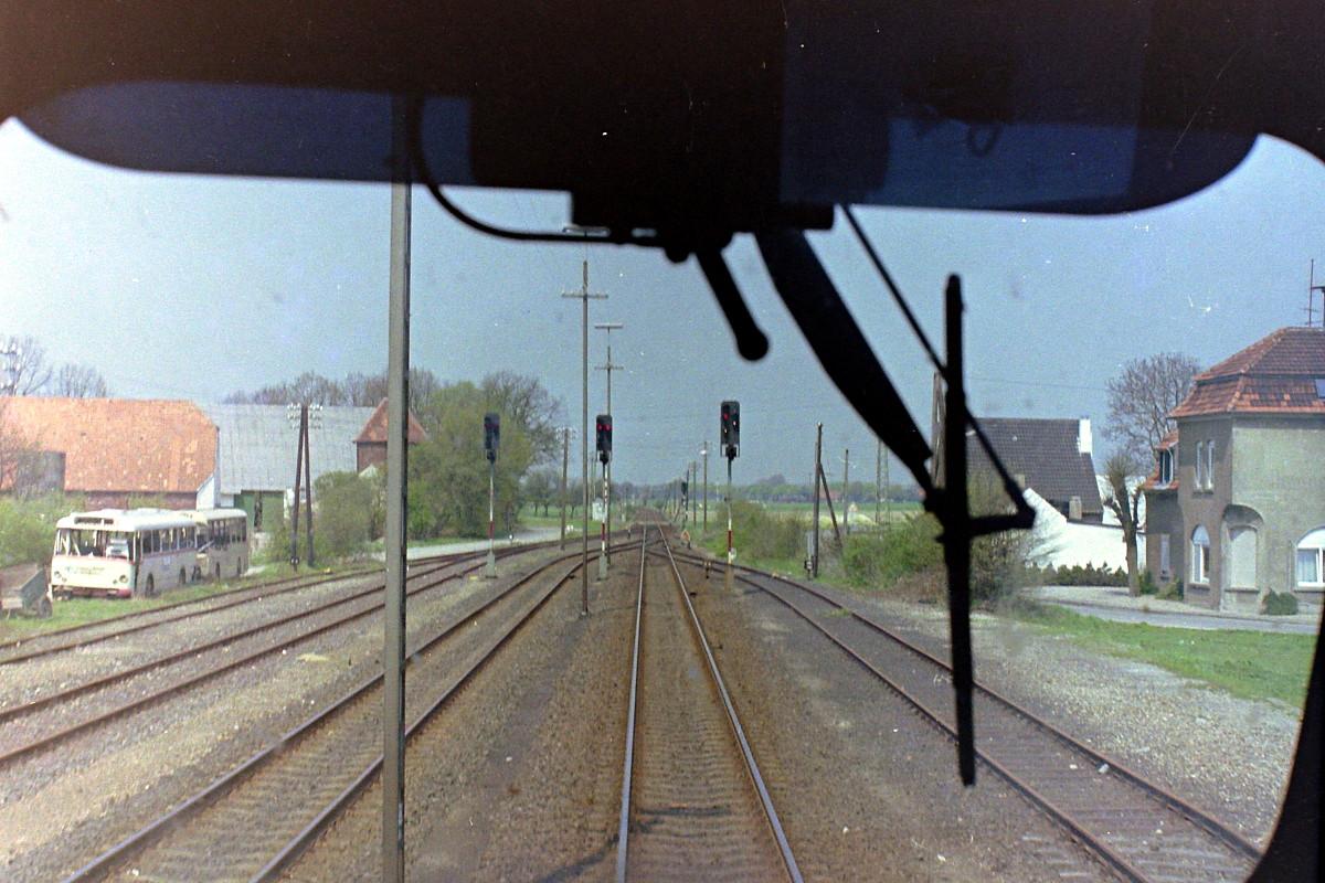Xanten, Mai 1986. Blick auf die Ausfahrt Richtung Marienbaum/Kleve