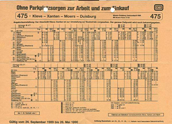 Fahrplan Kleve - Duisburg, Winter 1989