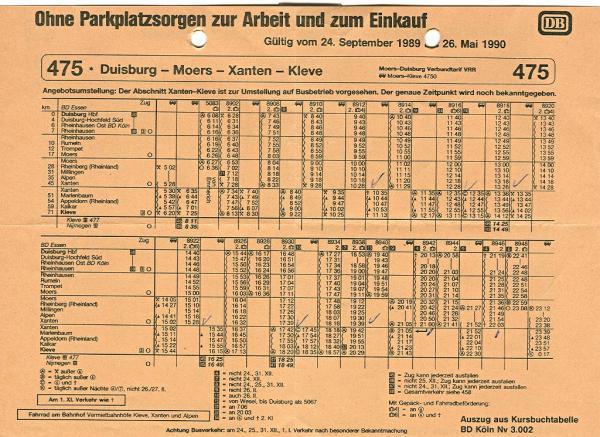 Fahrplan Duisburg - Kleve, Winter 1989