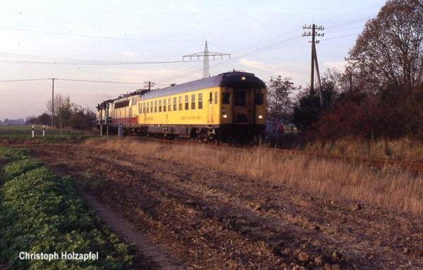 Messzug mit 103 001 und 216 051 am 13. November 1989 bei Wardt