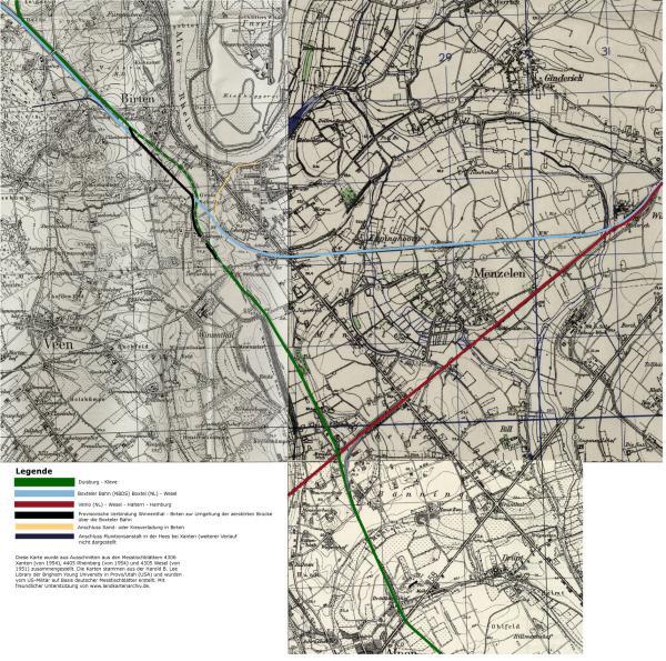 Ausschnitte von Messtischblättern mit den Kreuzungen der Boxteler Bahn, dem Hippelandexpress und der Venloer Bahn zwischen Birten und Menzelen