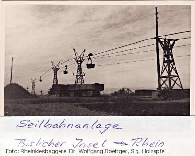 Seilbahn der Kiesgesellschaft Wesel/Rheinkies-Baggerei Dr. Wolfgang Boettger auf der Bislicher Insel